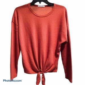 Caution to The Wind Red Tie Waffle Top